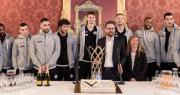 Giocatori della Virtus in Sala Rossa con Assessori Lepore e Pillati per festeggiare la Basketball Champions League